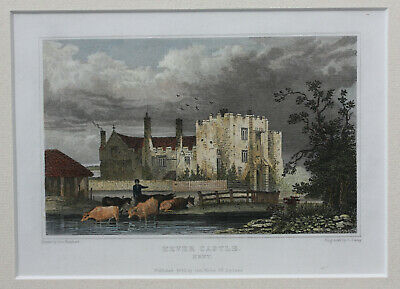 Antique original Early 19th Century engraving of Hever Castle in Kent