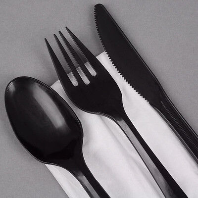 600 x Quality Heavy Duty Black Plastic Cutlery-200 each Knives Forks Spoons SALE