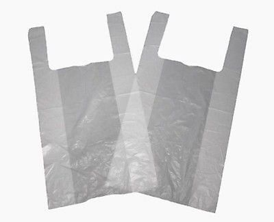 "500 x LARGE WHITE 11x17x21"" Plastic Vest Carrier Bags - LIGHT WEIGHT 11mu OFFER"