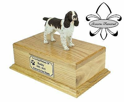 Luxury Solid Wood Oak Urn, pet, dog, ashes, memorial, Springer Spaniel