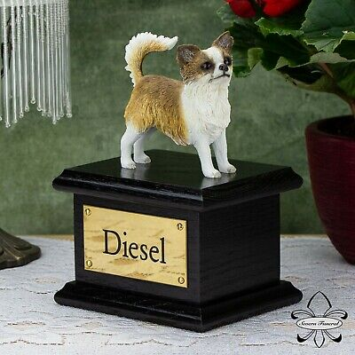 Solid Wood Dog Black, Cremation Urn / Casket, Chihuahua Long Hair