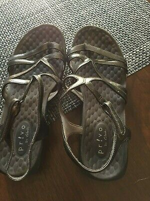 554fb73252be Privo by Clarks Womens Pewter Patent Leather Adjustable Strap Sandals Size  8M
