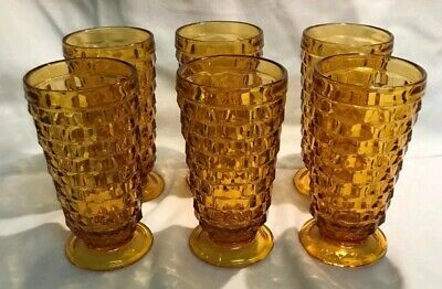 Six (6) Vintage INDIANA WHITEHALL (Amber) Ice Tea Goblets/Glasses by COLONY