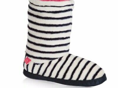 BNWT FRENCH NAVY STRIPED FLEECE JOULES HOMESTEAD SLIPPERSOCKS SIZE MEDIUM 4-6