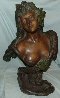 Antique French Bronze Bust Beautiful Woman French Artist Campagne Early 1900s