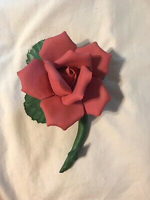 Vintage Capodimonte Porcelain Flower with Stem And Leaves Pink Rose Beautiful