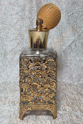"Vintage Filigree Perfume Atomizer 5.50"" Glass Bottle In Stand & 1.50"" Spray Bulb"