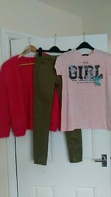 Girls outfit top,Cardigan and trousers Denim Co, George 10-11 Years