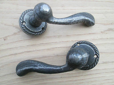 cast iron Vintage old georgian style lever on rose mortice door latch handles