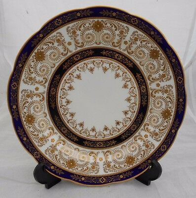 Bone China Plate Cauldon Brown Westhead Moore Blue Ground Gold Gilded No 4