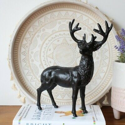 Antique Cast Iron Black Standing Deer Figurine Statue Ornament Sculpture Gift...