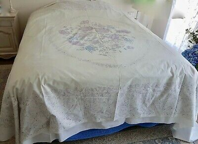 Vintage Purple Blue Ivory FLORAL Double BEDSPREAD FABRIC to Finish EMBROIDERING
