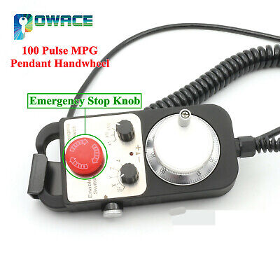Universal 4 Axis 100 Pulse Handwheel MPG Pendant&Emergency E-Stop for CNC Router