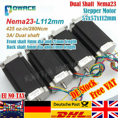 【In EU】4P Nema23 Dual shaft Stepper Motor 425oz.in 112mm 3A 425 Oz-in/280Ncm CNC