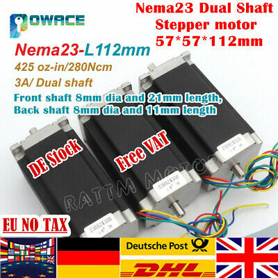 【UK】Dual shaft! 3P Nema23 Stepper Motor 425oz.in/280Ncm 112mm 3A for CNC Router