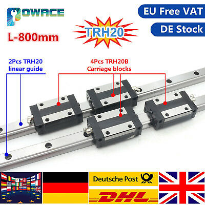 〖EU〗2x CNC Square Linear Guide Rail TRH20-L600mm+4 TRH20B Slider Carriage Blocks