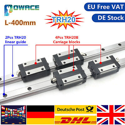 2x 20mm Square Linear Guide Rail L400mm+ 4x TRH20B Carriage Slider Block CNC【EU】