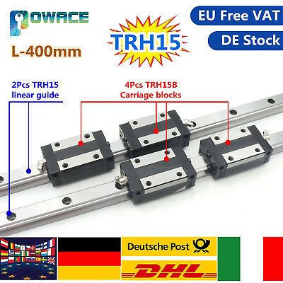 TRH15B Slider Carriage for CNC+2P 15mm Square Linear Guide Rail TRH15 L400mm【IT】