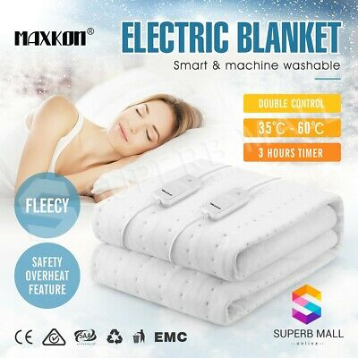 Electric Blanket Heated Warm Fully Fitted Queen Bed Washable Polyester Underlay