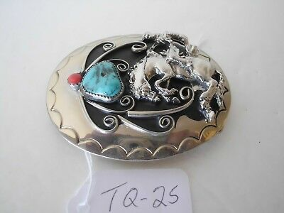 Belt Buckle Bucking Bronco 1-Turquoise 1-Coral Nos Tq-25 G4