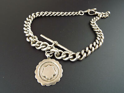"""Antique English Sterling Silver Double Albert Watch Chain 14"""" Hallmarked 1930s"""