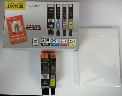 Canon 250 251 Combo Black and Yellow Ink Cartridges Genuine NEW