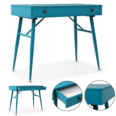 Retro Writing Desk Computer with Drawer Console Table Antique Green 90x50x76.5cm