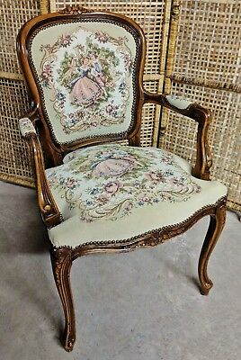 Vtg French Louis XV Courting Couple Tapestry Fauteuil Armchair Chateau D'ax Spa