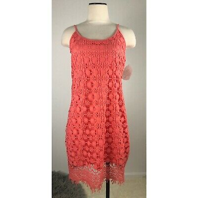 Altar'd State Womens Coral Dress Size Small Crochet Lace Overlay NWT Floral