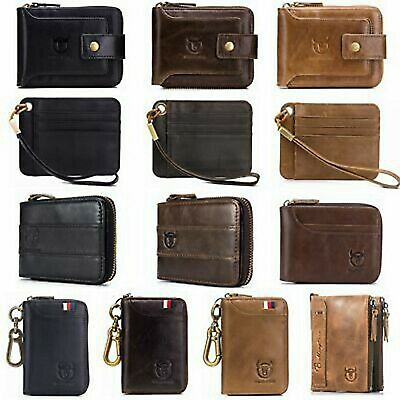 BULLCAPTAIN Genuine Leather Billfold Wallet RFID Blocking Vintage Men Women CHIC