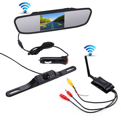 "5"" LCD Wireless Car Rear View Mirror Monitor + Waterproof Parking Backup Cam Kit"