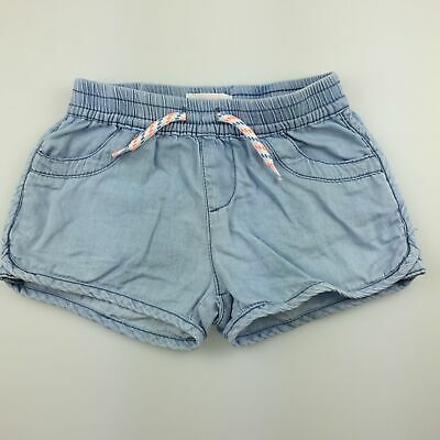 Girls size 2, Pumpkin Patch, blue chambray cotton shorts, elasticated, FUC