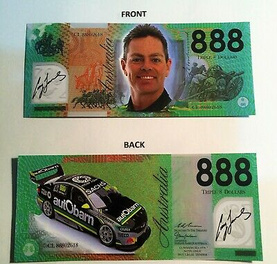 Craig Lowndes 888 Dollars, Polymer Novelty Note, Bathurst, Holden Commodore.