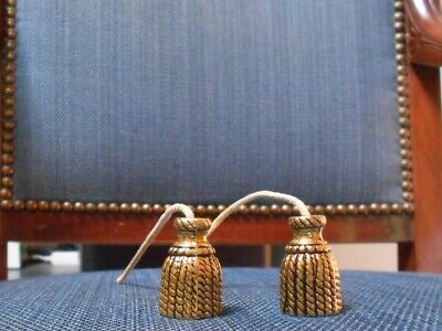 Pair of Vintage French Bronze Curtain Blind Light PULL ENDS