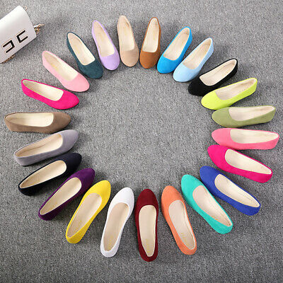 New Womens Ballerina Ballet Dolly Pumps Ladies Flats Loafers Boat Shoes Size UK