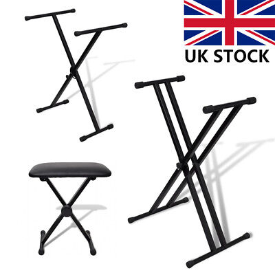 Keyboard Stand X Frame Folding Height Adjustable Portable Strong for Piano UK