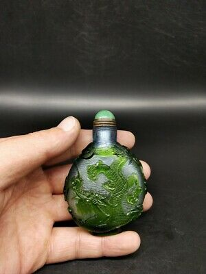 Collection chinese exquisite Glass snuff bottle hand carved dragon phoenix map