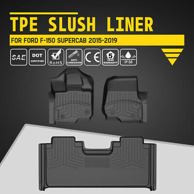 KIWI MASTER Floor Mat Bucket Seat TPE Slush Liners for 15-19 Ford F-150 SuperCab