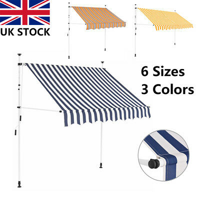 Manual Awning Stripes Canopy Outdoor Garden Patio Sun Shade Shelter Retractable
