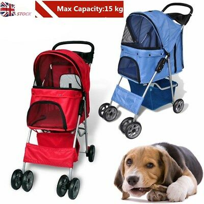 Pet Travel Stroller Dog Puppy Cat Pushchair Pram Folding Jogger 4 Swivel Wheels