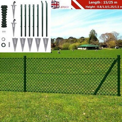 Outdoor Chain-Link Fence Set Garden Fencing Roll Posts Spike Anchors 15m / 25m