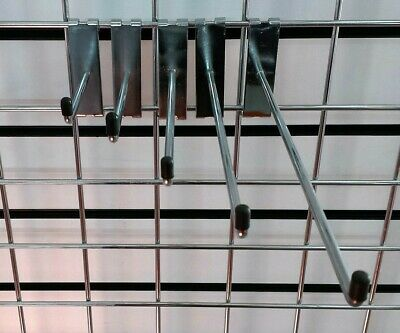 "Grid Hooks 4"" 6"" 8"" 10"" 12"" Single Arm Prong Gridwall Wall Mesh Panel Retail"