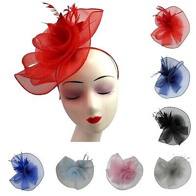 Large Wedding Fascinator Headband Synthetic Curls Feather Ladies Day Races Royal