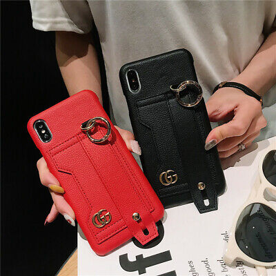 iPhone XS Max XR X 8 7 6 Plus Leather Wrist Strap Card Holder Wallet Case Cover