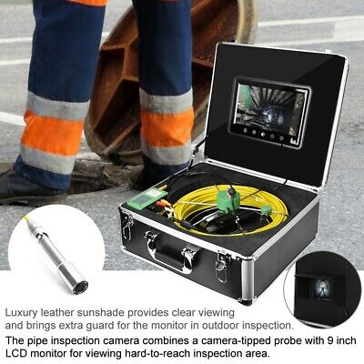 "9""LCD 1000 TVL 22mm Drain Pipe Sewer Inspection Video Camera System 30M Cable"