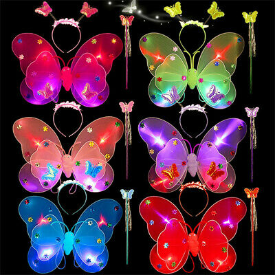 3PCS Set Girls Led Flashing Light Fairy Butterfly Wing+Wand+Headband Costume M