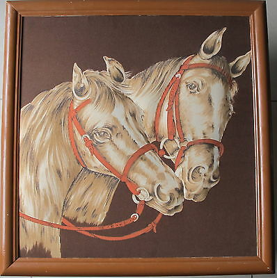 """Done by Unknown Artist~""""Two Horse Heads""""~Square Frame~"""