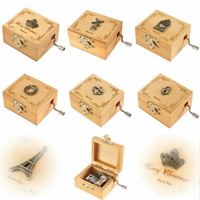 Personalized Engraved Retro Wooden Hand Crank Music Box Exquisite Xmas Gift