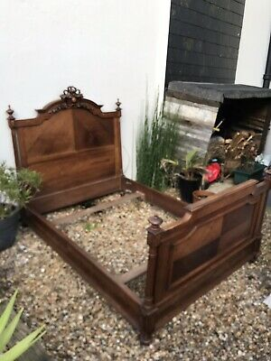 Antique French Carved Oak Bed