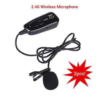 2x 2.4G Wireless Microphone Lapel-Style Voice Amplifier MIC Receiver&Transmitter